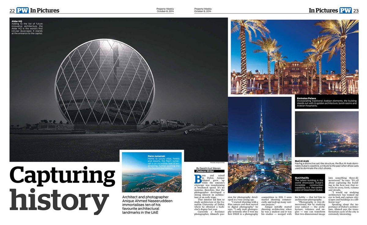 double page spread in the property weekly magazine