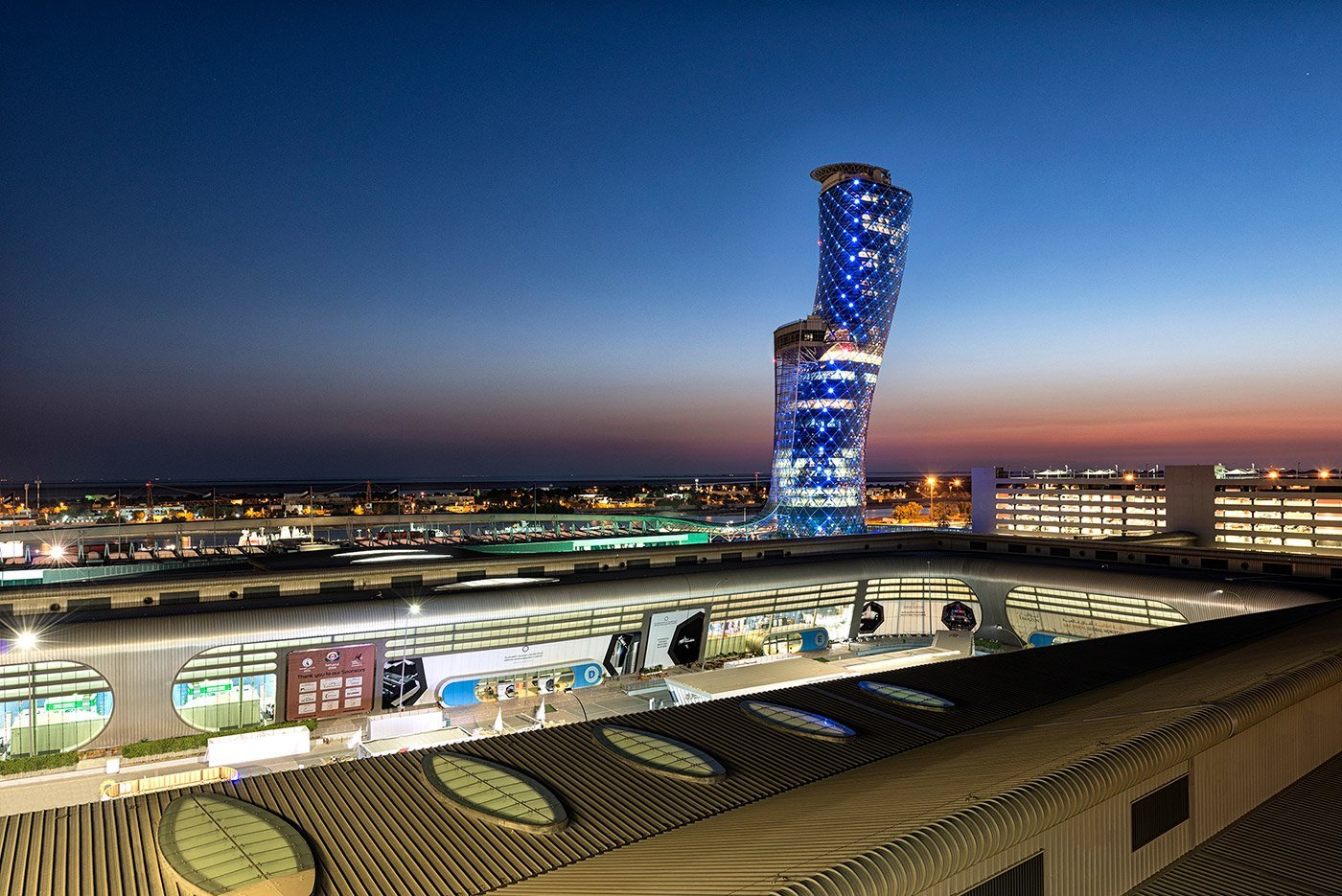capital gate abu dhabi from a rooftop