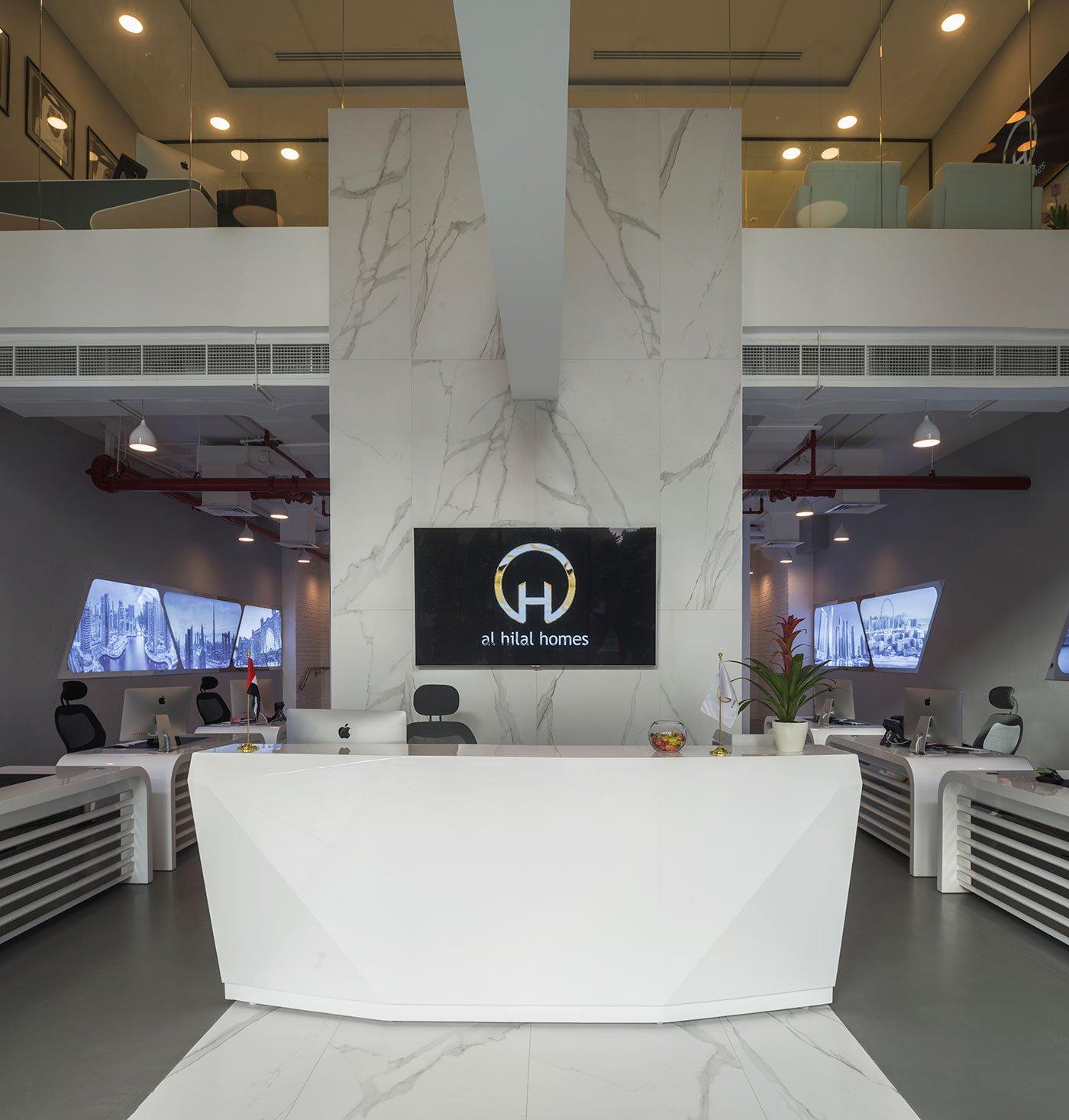 reception desk of an office