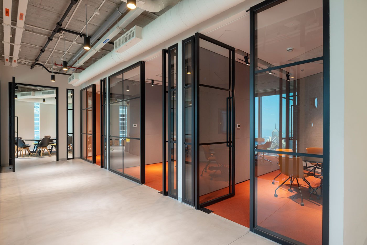 meeting rooms at an office in central park towers dubai