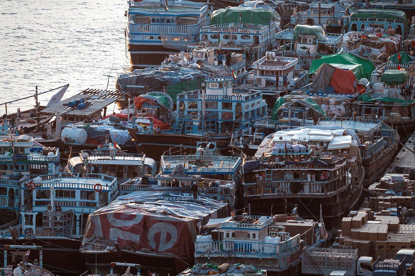 closeup of the Iranian trade boats along the Dubai creek