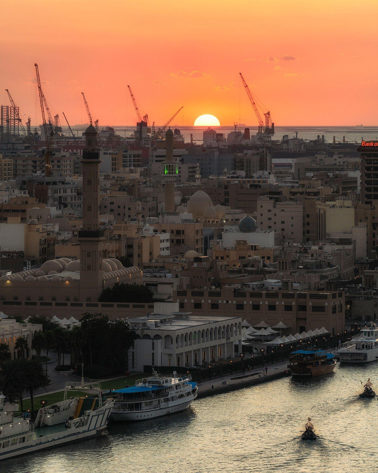 sunset over the Dubai creek