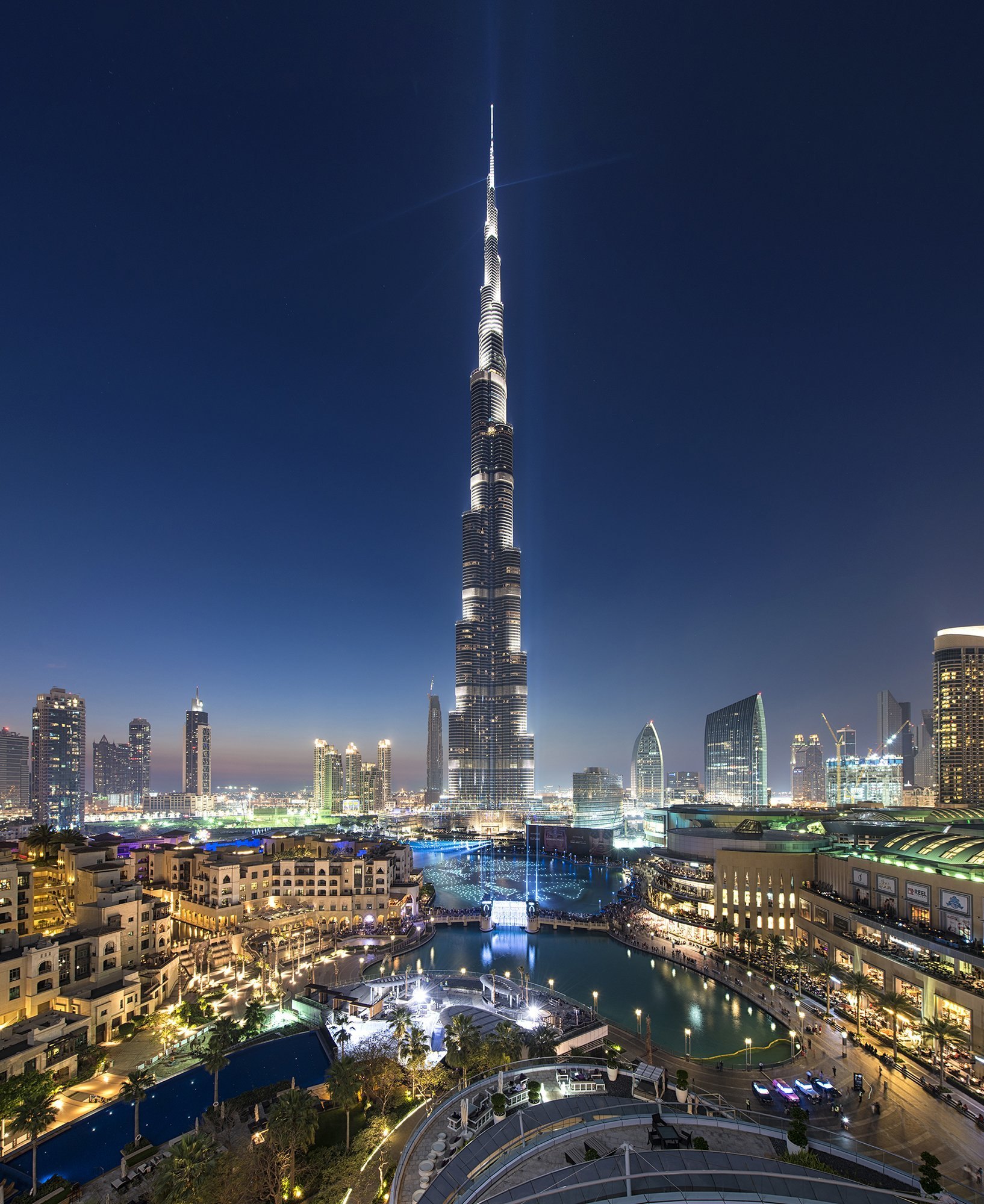 burj khalifa from the address downtown during the downtown light festival